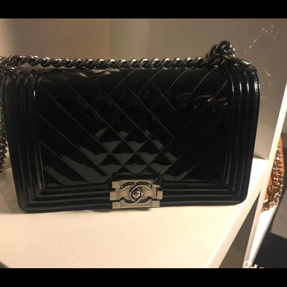 a3ede82ab216 CHANEL Bags | Sold Patent Chevron Quilted Medium Le Boy | Poshmark